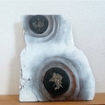 LUNAR LANDSCAPE - painted wood, septarian stones