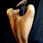 GUARDIAN BIRD - olive wood, found objects