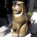 CAT MEDITATING - Provençal limestone