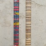 BARCODES - painted wood, beer cans, bark